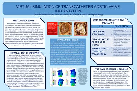 VIRTUAL SIMULATION OF TRANSCATHETER AORTIC VALVE IMPLANTATION Jenna Smetana and Jessica Sider, Swanson School of Engineering THE TAVI PROCEDURE IS FEASIBLE.