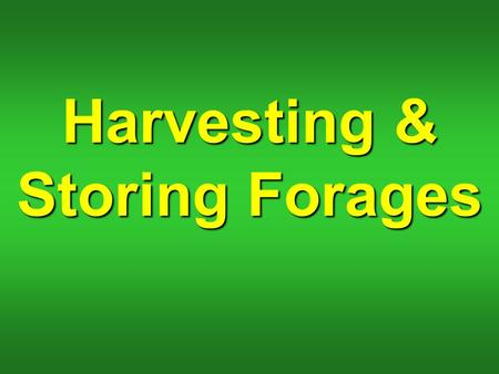 Harvesting & Storing Forages. What factors determine time to harvest forage?