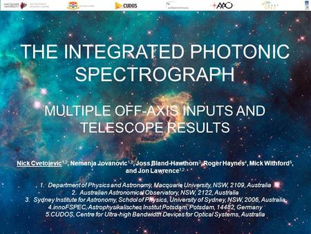 THE INTEGRATED PHOTONIC SPECTROGRAPH MULTIPLE OFF-AXIS INPUTS AND TELESCOPE RESULTS Nick Cvetojevic 1,2, Nemanja Jovanovic 1,2, Joss Bland-Hawthorn 3,