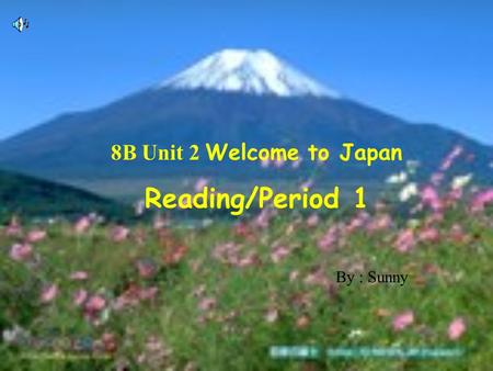 8B Unit 2 Welcome to Japan Reading/Period 1 By : Sunny.
