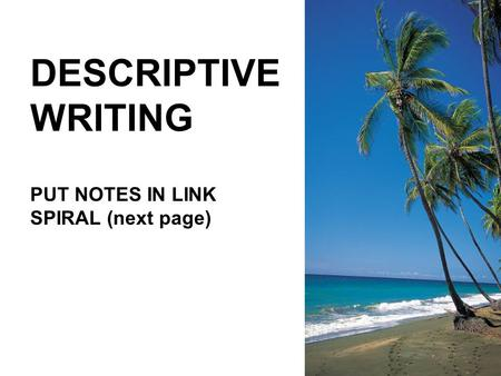 DESCRIPTIVE WRITING PUT NOTES IN LINK SPIRAL (next page)