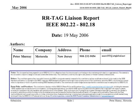 Doc.: IEEE 802.22-06-0074-00-0000-Mar06-RR-TAG_Liaison_Report.ppt 18-06-0030-00-0000_RR-TAG_802.22_Liaison_Report_May06 Submission May 2006 Peter Murray,