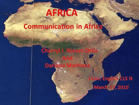 Africa is the third continent of the world by geographical area. Africa are interesting, because is very big and have many countries and different stile.