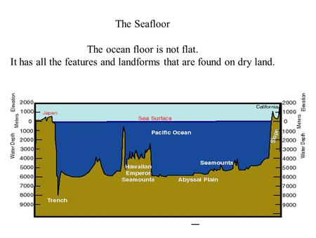 The Seafloor The ocean floor is not flat. It has all the features and landforms that are found on dry land.