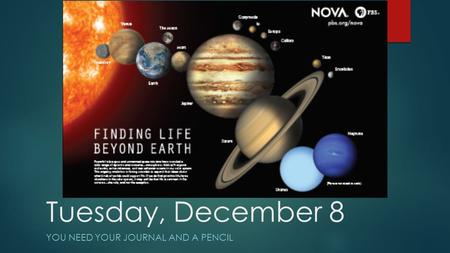 Tuesday, December 8 YOU NEED YOUR JOURNAL AND A PENCIL.
