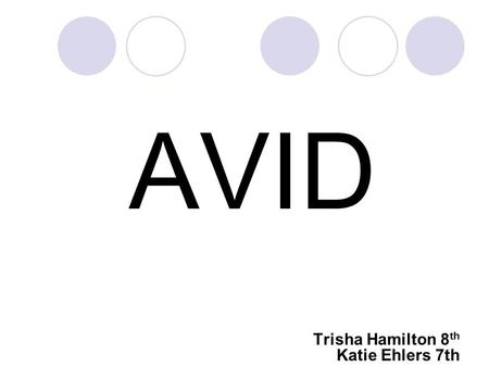 AVID Trisha Hamilton 8 th Katie Ehlers 7th What is AVID? AVID is an academic, regularly scheduled elective class based on writing as a tool of learning,
