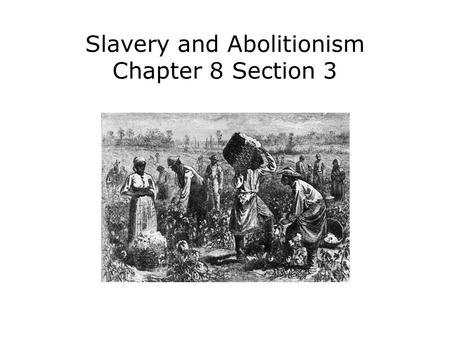 Slavery and Abolitionism Chapter 8 Section 3. Describe the lives of enslaved and free African Americans in the 1800s. Identify the leaders and tactics.