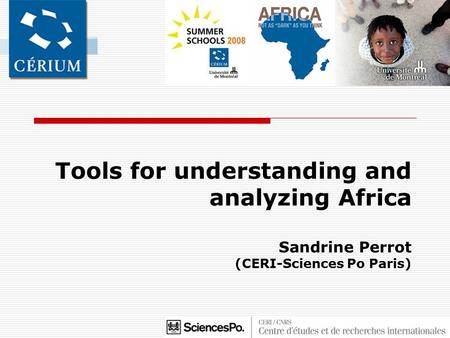 Tools for understanding and analyzing Africa Sandrine Perrot (CERI-Sciences Po Paris)