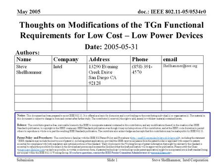 Doc.: IEEE 802.11-05/0534r0 Submission May 2005 Steve Shellhammer, Intel CorporationSlide 1 Thoughts on Modifications of the TGn Functional Requirements.