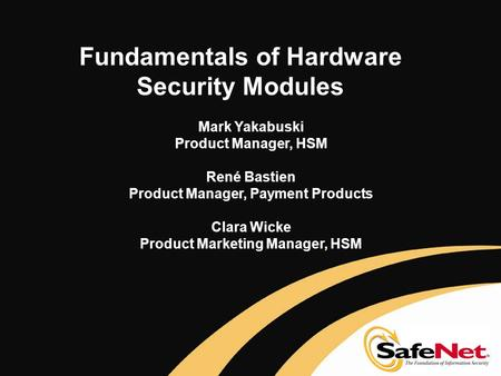 Fundamentals of Hardware Security Modules