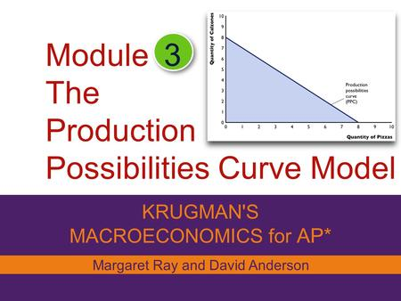 Module The Production Possibilities Curve Model KRUGMAN'S MACROECONOMICS for AP* 3 Margaret Ray and David Anderson.