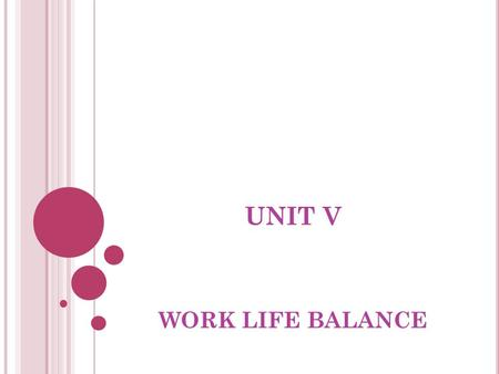 UNIT V WORK LIFE BALANCE. DEFINITION Work – life balance is a concept including proper prioritizing between  work  (career and ambition) and lifestyle
