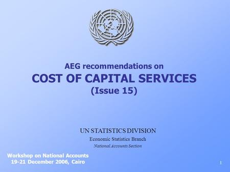 AEG recommendations on COST OF CAPITAL SERVICES (Issue 15) Workshop on National Accounts 19-21 December 2006, Cairo 1 UN STATISTICS DIVISION Economic Statistics.