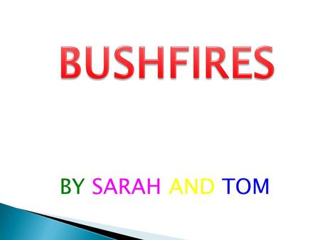 BY SARAH AND TOM.  Bushfires are frequent events during the hotter months of the year. Each year, such fires impact extensive areas.