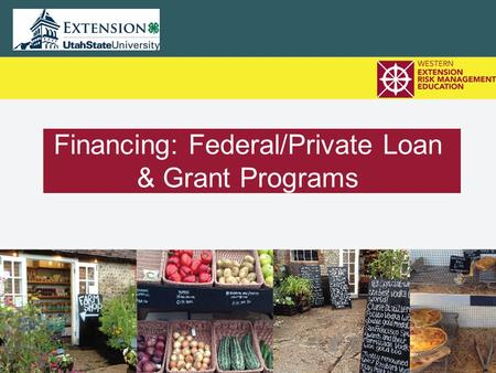 Financing: Federal/Private Loan & Grant Programs.