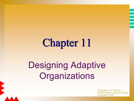 Management, by Williams South-Western College Publishing Copyright © 2000 Chapter 11 Designing Adaptive Organizations.