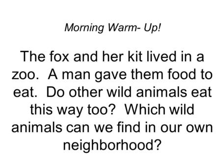 Morning Warm- Up! The fox and her kit lived in a zoo. A man gave them food to eat. Do other wild animals eat this way too? Which wild animals can we find.