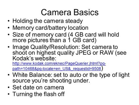 Camera Basics Holding the camera steady Memory card/battery location Size of memory card (4 GB card will hold more pictures than a 1 GB card) Image Quality/Resolution: