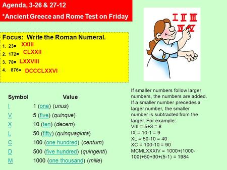 Agenda, 3-26 & 27-12 *Ancient Greece and Rome Test on Friday Focus: Write the Roman Numeral. 1. 23= 2. 172= 3. 78= 4.876= SymbolValue I1 (one) (unus)one.