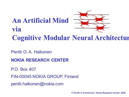 Cognitive Modular Neural Architecture