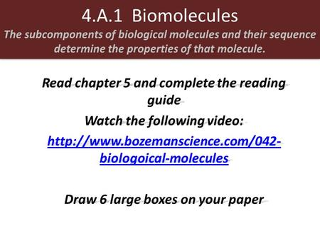 The subcomponents of biological molecules and their sequence determine the properties of that molecule. 4.A.1 Biomolecules The subcomponents of biological.