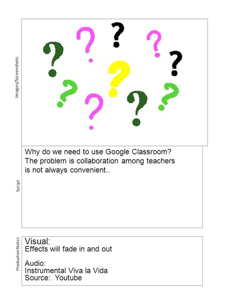 Why do we need to use Google Classroom? The problem is collaboration among teachers is not always convenient.. Visual: Effects will fade in and out Audio: