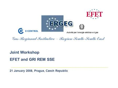 Joint Workshop EFET and GRI REM SSE 21 January 2008, Prague, Czech Republic.