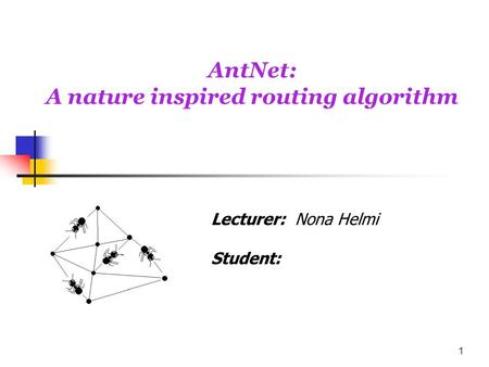 AntNet: A nature inspired routing algorithm