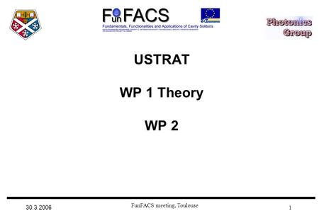 30.3.2006 FunFACS meeting, Toulouse 1 USTRAT WP 1 Theory WP 2.