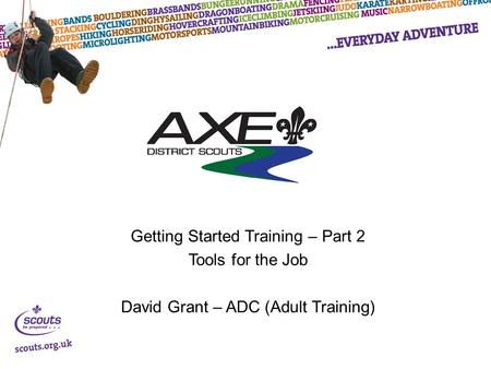 Getting Started Training – Part 2 Tools for the Job David Grant – ADC (Adult Training)