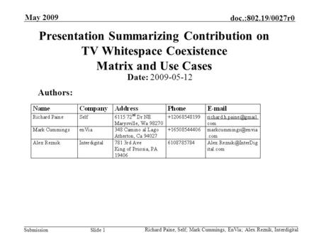 Doc.:802.19/0027r0 Submission May 2009 Presentation Summarizing Contribution on TV Whitespace Coexistence Matrix and Use Cases Date: 2009-05-12 Authors: