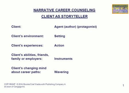 COPYRIGHT © 2014 Brooks/Cole*Wadsworth Publishing Company A division of Cengage Inc. 1 NARRATIVE CAREER COUNSELING CLIENT AS STORYTELLER Client:Agent (author)