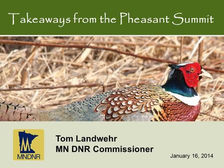 Takeaways from the Pheasant Summit January 16, 2014 Tom Landwehr MN DNR Commissioner.