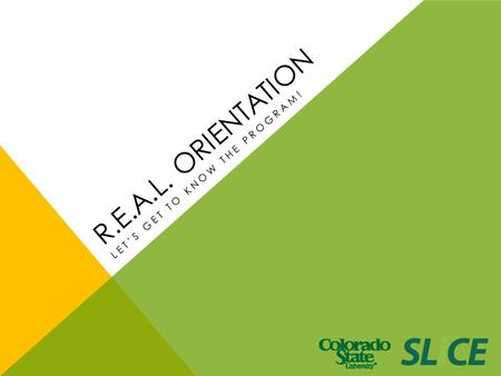 LET'S GET TO KNOW THE PROGRAM! R.E.A.L. ORIENTATION.