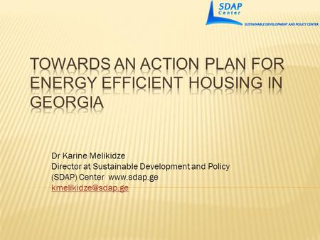Dr Karine Melikidze Director at Sustainable Development and Policy (SDAP) Center