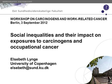 Social inequalities and their impact on exposures to carcinogens and occupational cancer Elsebeth Lynge University of Copenhagen WORKSHOP.