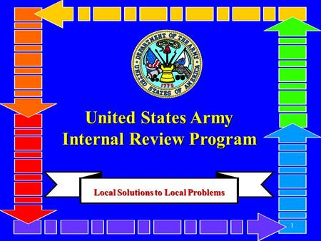 1 United States Army Internal Review Program 1 Local Solutions to Local Problems.