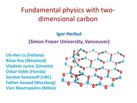 Fundamental physics with two- dimensional carbon Igor Herbut (Simon Fraser University, Vancouver) Chi-Ken Lu (Indiana) Bitan Roy (Maryland) Vladimir Juricic.