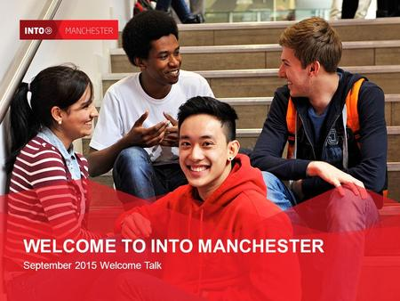 WELCOME TO INTO MANCHESTER September 2015 Welcome Talk.