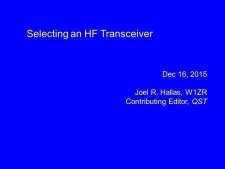 Selecting an HF Transceiver