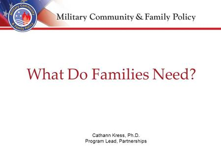 What Do Families Need? Cathann Kress, Ph.D. Program Lead, Partnerships.