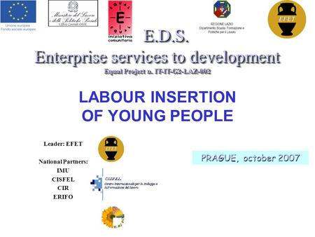 LABOUR INSERTION OF YOUNG PEOPLE E.D.S. Enterprise services to development Equal Project n. IT-IT-G2-LAZ-002 E.D.S. Enterprise services to development.
