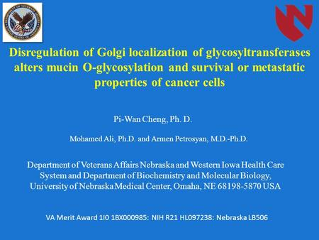 Disregulation of Golgi localization of glycosyltransferases alters mucin O-glycosylation and survival or metastatic properties of cancer cells Pi-Wan Cheng,
