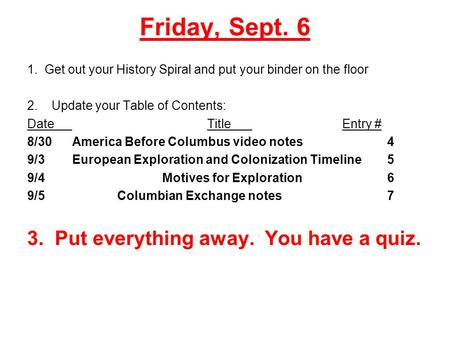 Friday, Sept. 6 1. Get out your History Spiral and put your binder on the floor 2. Update your Table of Contents: DateTitleEntry # 8/30America Before Columbus.