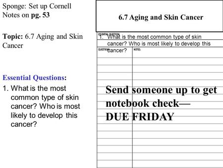 Sponge: Set up Cornell Notes on pg. 53 Topic: 6.7 Aging and Skin Cancer Essential Questions: 1.What is the most common type of skin cancer? Who is most.