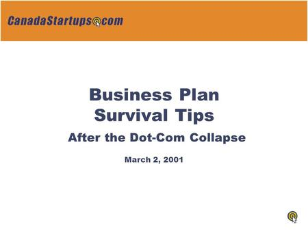 Business Plan Survival Tips After the Dot-Com Collapse March 2, 2001.