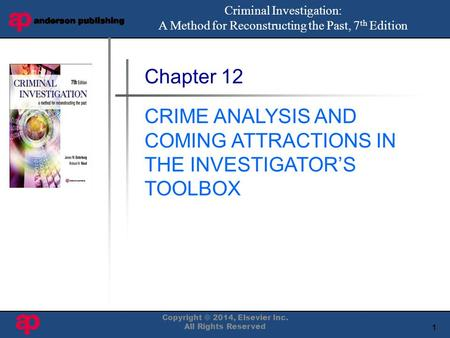1 Book Cover Here Chapter 12 CRIME ANALYSIS AND COMING ATTRACTIONS IN THE INVESTIGATOR'S TOOLBOX Criminal Investigation: A Method for Reconstructing the.
