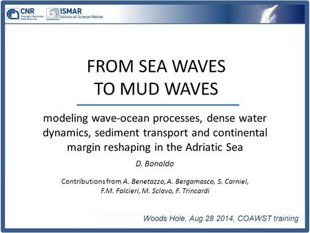 Modeling wave-ocean processes, dense water dynamics, sediment transport and continental margin reshaping in the Adriatic Sea Woods Hole, Aug 28 2014, COAWST.