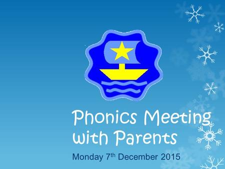 Phonics Meeting with Parents Monday 7 th December 2015.