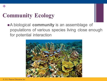 Community Ecology A biological community is an assemblage of populations of various species living close enough for potential interaction © 2011 Pearson.